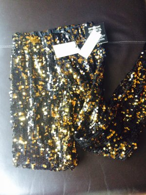 Pailletten Leggings Gold/schwarz