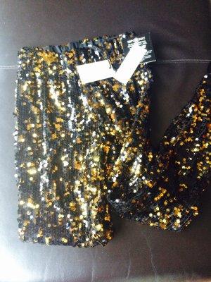 Pailletten Leggings Gold/schwarz