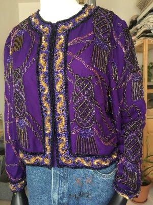 Pailletten Lila Vintage Chiffon Jacke