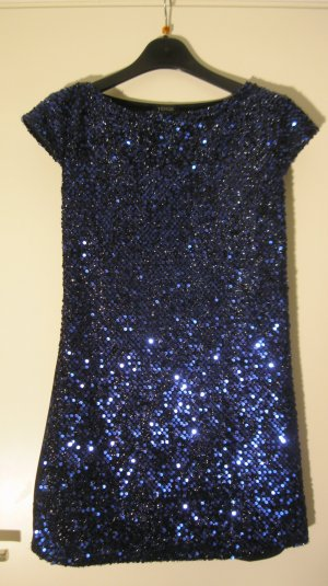 Pailletten Long-Shirt Farbe: Nachtblau Gr. 36/38