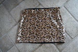 Pailletten Minirock Leopardenmuster Animalprint Zara Größe S