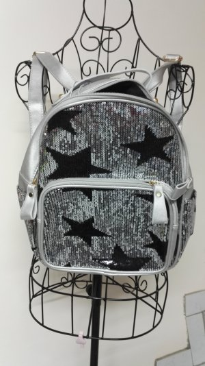 Backpack black-silver-colored