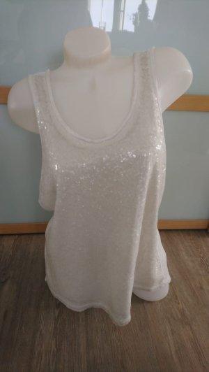 Pailletten Shirt Gr.L 40 S.Oliver creme TOp damen