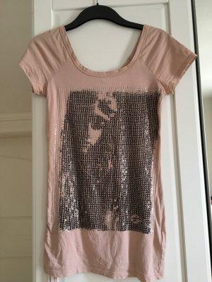 Pailletten Shirt mit seitlicher Raffung 32 /34 rosa