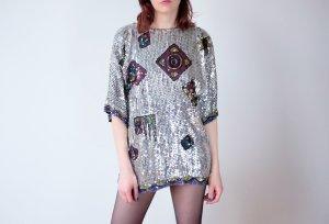 pailletten shirt shirtdress silber geometrisch S M 36 38 40