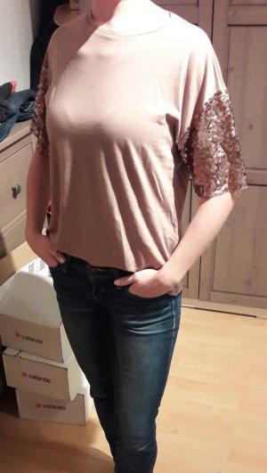 Pailletten Shirt Zara Hellbraun