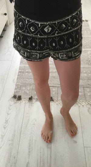 Pailletten Shorts, schwarz