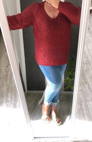 Junarose Jersey con cuello de pico rojo oscuro