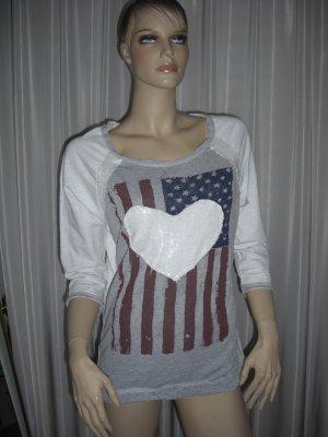 Pailletten Sweat Gr 38 / 40 Amerikanische Flagge used Look