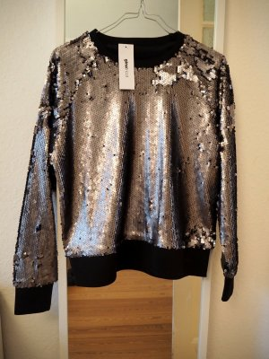 Pailletten Sweatshirt Silvester Christmas Party silber