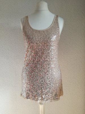 Pailletten Top Träger Trägertop Tanktop Party Glitzer