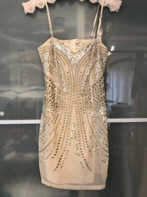 Paillettenbesetztes Abendkleid in Nude