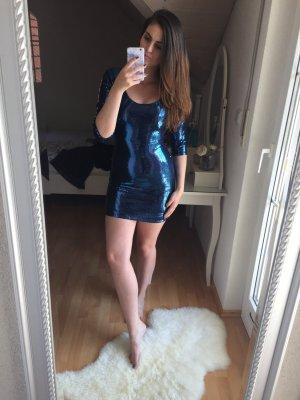 H&M Robe à paillettes argenté-bleu