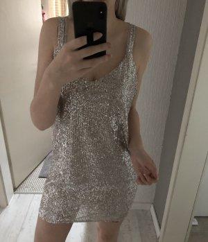 Paillettenkleid beige Creme Silber