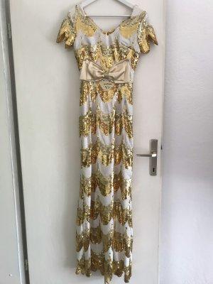 Paillettenkleid gold weiss