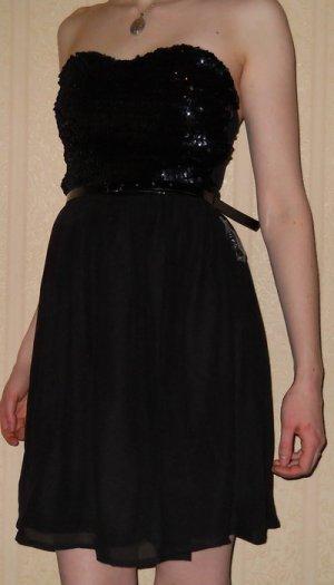 Paillettenkleid Minikleid Gr. 36 S neu schwarz Party Ball Hochzeit + Gürtel