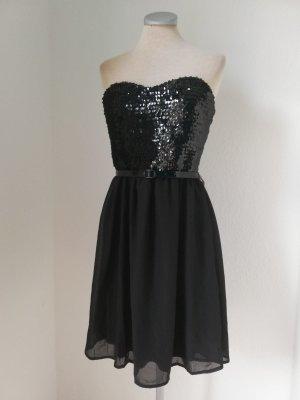 Paillettenkleid schwarz Minikleid Chiffonkleid Gr. 36 S Pailletten Kleid kurz Chiffon Party neu Bandeaukleid