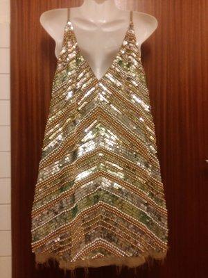 Asos Robe à paillettes argenté-beige polyester