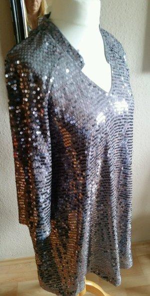 Paillettenkleid, Tunika, Silber Grau Gr. 44