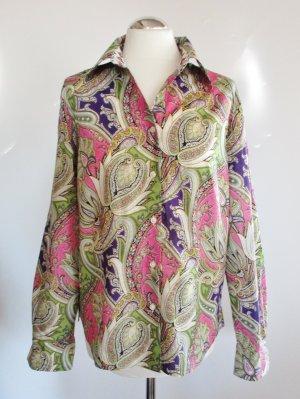 Paisley Bluse Frank Walder Größe 42 Langarm Pink Grün Lila Weiß Muster Blumen Blätter Baumwolle Raute Floral Business