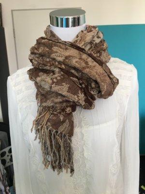 Paisley-Muster braun gemusterter Schal mit Fransen - sehr weich