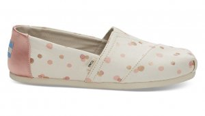 Toms Ballerinas rose-gold-coloured-natural white cotton