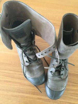 Palladium Pampa Peloton khaki Leder Damen Stiefel Boots