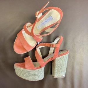 Paloma barceló Platform High-Heeled Sandal orange-gold-colored leather