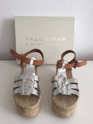 Palomitas Platform Sandals silver-colored-brown leather