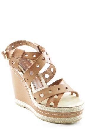 Palomitas Wedge Sandals cognac-coloured-cream casual look