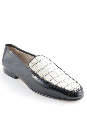 Pancaldi Mokassins schwarz-creme grafisches Muster Elegant