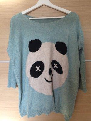 Panda Pullover in türkis