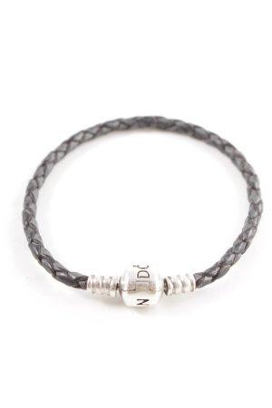 Pandora Braccialetto sottile argento-marrone stile casual
