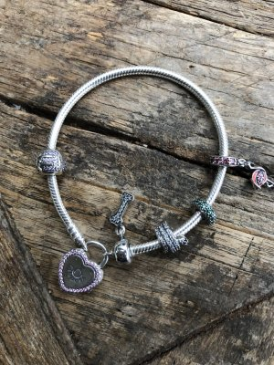 Pandora Armband Silber Herz 19 mit 5 Charms - Neu