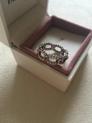 Pandora - außergewöhnlicher Ring mit rosa Saphiren, Bicolor