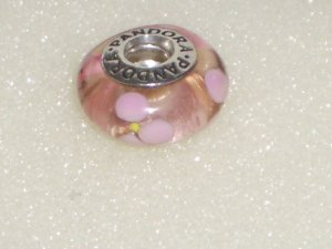 Pandora Charm Murano rosa mit rosa Blumen