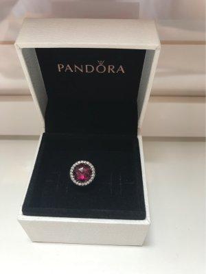 Pandora Charm silver-colored-dark red