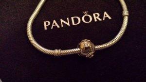 Pandora Element vergoldete Blume mit rosa Stein
