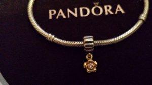 Pandora hängendes Blumen Element vergoldet mit rosa Stein