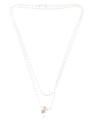 Pandora Ketting zilver-stoffig roze Herzmuster casual uitstraling