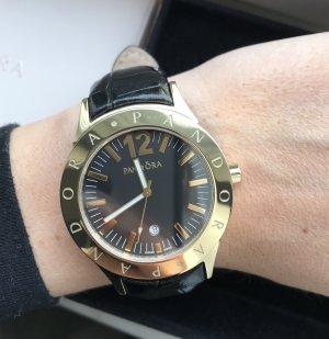 Pandora Horloge met lederen riempje zwart-goud