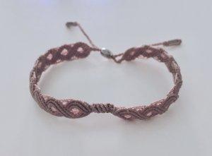 Pandora Macramé textil Armband in fb altrosa/lavendel verstellbar von 17-23cm, mit Sterling Silber am Verschluss.