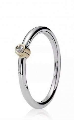 Pandora Ring, Bicolor aus Silber (925) und Gold (14K)  mit Diamant