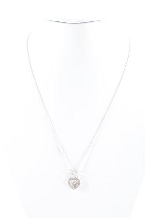 Pandora Silberkette silberfarben-rosa Herzmuster Romantik-Look
