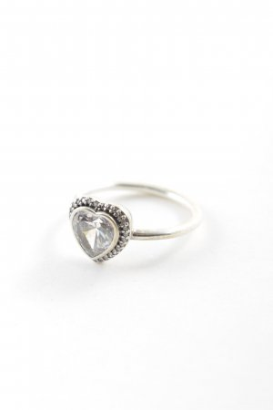 Pandora Silver Ring silver-colored Herzmuster glittery