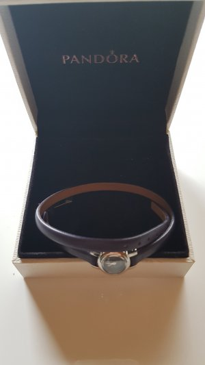 Pandora Watch With Leather Strap dark violet leather