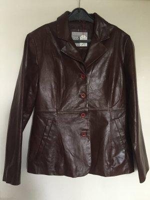 Leather Blazer cognac-coloured-dark brown