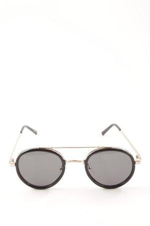 Panto Brille schwarz-goldfarben minimalistischer Stil
