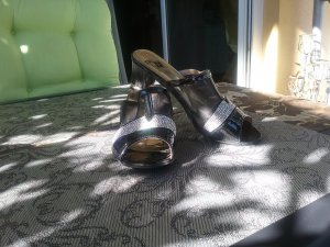 Heel Pantolettes black-sand brown synthetic fibre