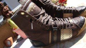 Pantofola d'oro High top sneaker donkerbruin Leer